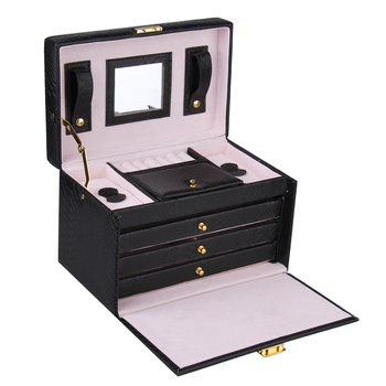 Black PU Leather Jewelry Packaging Display Boxes 3 Drawers Rings Storage Girls Jewellery Organizer Carrying