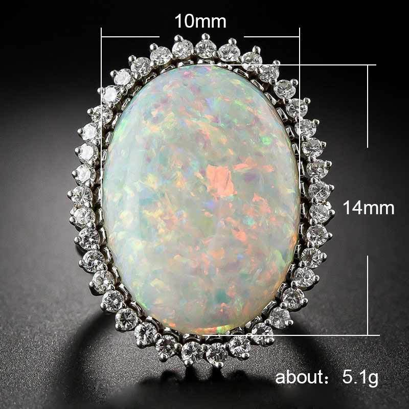 Huge White Fire Opal Rings for Women Fashion Micro Pave CZ Engagement Jewelry Ladies Gifts Dropshipping in Rings from Jewelry Accessories
