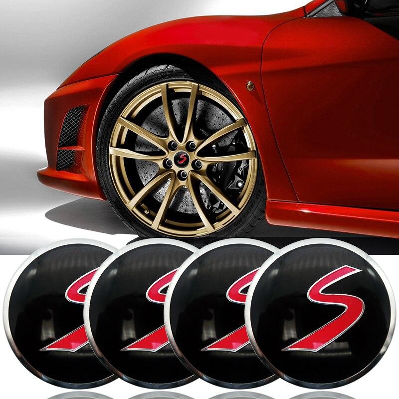 4pcs 56mm Red S Logo Car Emblem Sticker for BMW Decal wheel center hub caps emblem stickers Car styling Accessoriesbadge