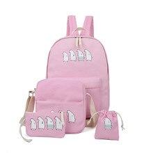 2016 Pink Bear Cartoon Canvas Backpack Women 4Pcs/Set Cute Bagpack School Bags For Teenager Girls Mochila Escolar Drawstring Bag
