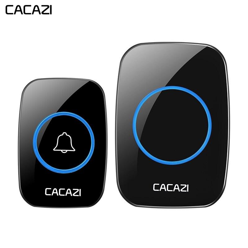 CACAZI Sans Fil Étanche Sonnette 300 m À Distance 1 Batterie Bouton 1 2 Récepteur 38 carillons UK US EU Plug Smart accueil sonnette