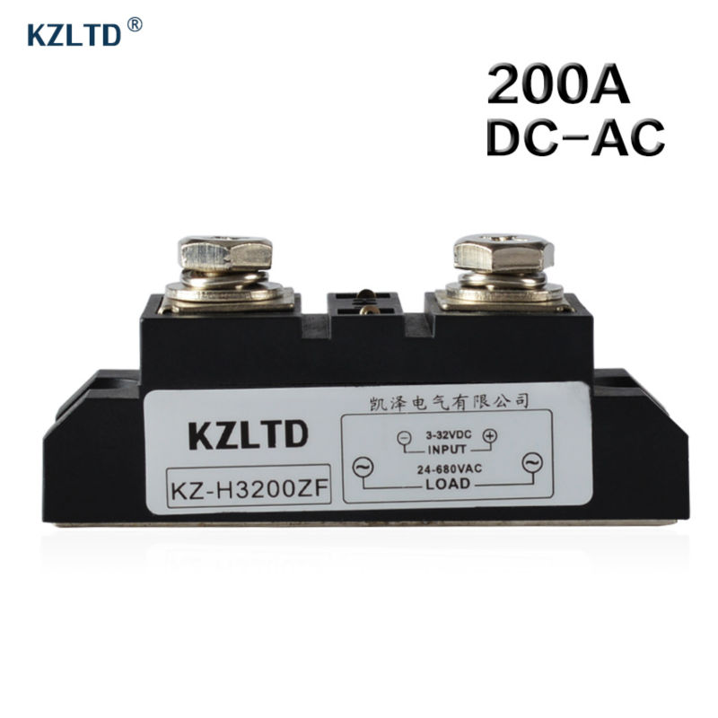 KZLTD SSR-200A DC to AC Solid State Relay 200A Industrial High Voltage Relay 3-32V DC to 24-680V AC Solid State Relays SSR 200A free shipping 1pc industrial use 200a dc ac solid state relay quality dc ac mgr h3200z 220v mager ssr