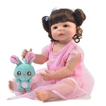 Reborn silicone vinyl body girl dolls toys 55cm baby real born dolls gift bebes reborn com corpo de silicone menina boneca