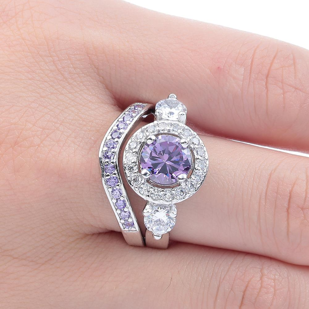 New Princess Cut Cubic Zirconia zircon Engagement Ring Set Purple ...