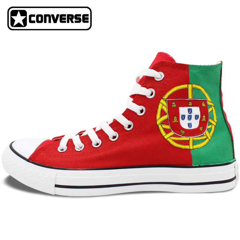 High Top Converse Flag of Portugal Custom Design Hand Painted Shoes High Top Red Canvas Sneakers Men Women Birthday Gifts staerk 2017 costume female conservative small fresh sexy gathered thin bikini sets of swimming suits