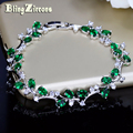 BlingZircons Lovely Oval Round Cubic Zircon Crystal Silver Color Royal Jewellry Green CZ Stone Tennis Bracelets For Women B015