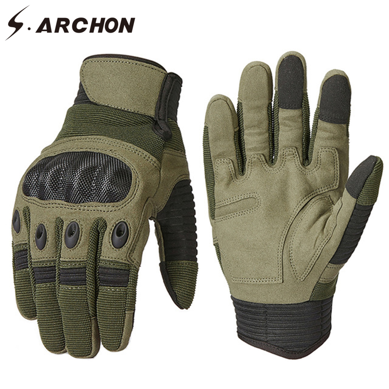 S.ARCHON Military Style Full Finger Tactical Gloves Men Anti-Skid Carbon Bicycle Motorcycles Gloves Paintball Combat Army Mitten
