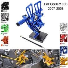 อลูมิเนียม CNC Rearets ปรับหมุดเท้าสำหรับ Suzuki GSXR1000 GSXR 1000 K7 K8 2007 2008