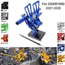 Estribos de pie ajustables de aluminio CNC para Suzuki GSXR1000 GSXR 1000 K7 K8 2007 2008