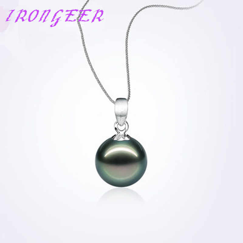 luxury S925 Sterling silver Tahiti style 12mm Perfect round  black pearl pendant necklaces  jewelry For women Free shipping