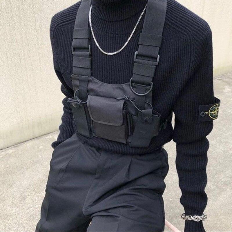 2019 Polyester Borst Rig Tas Zwart Vest Hip Hop Streetwear Functionele Tactische Harnas Borst Rig Kanye West Wist Verpakking Borst Tas
