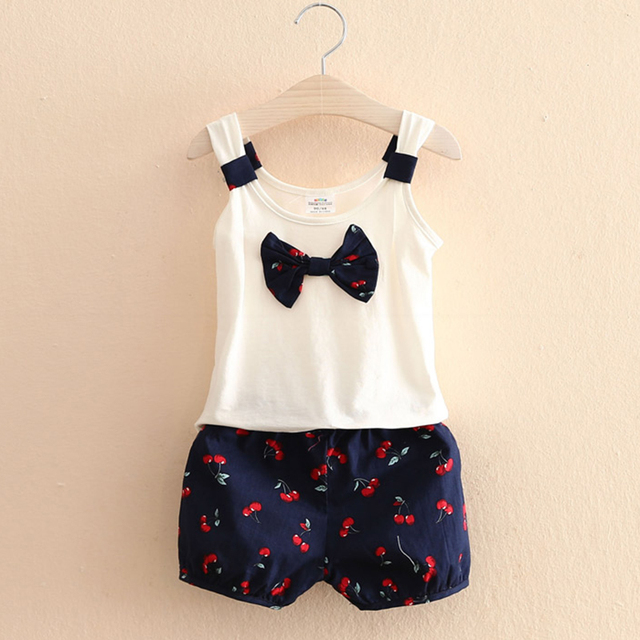 T Shirt Children Girl Bow T Shirts For Kids Sleeveless+Baby Girl Summer Shorts Cherry 2 Pieces Casual Children Clothing 2686Z