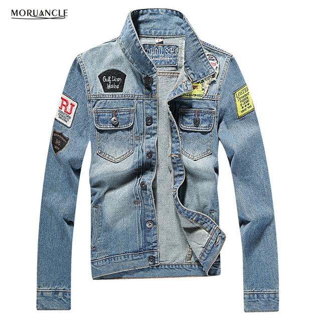 4dbfef27932 MORUANCLE Fashion Men s Ripped Denim Jacket With Patches Slim Fit Distressed  Jeans Jackets For Male Patchwork Plus Size M-4XL