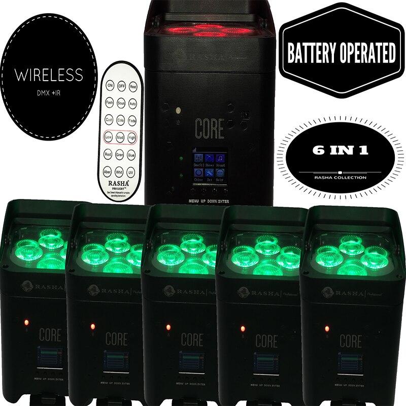 Раша 4X Lot APP мобильный 4*18 Вт свобода Батарея питание Беспроводной Wi-Fi 6in1 RGABW УФ светодиодный номинальной света этап номинальной проектор СВЕТ...