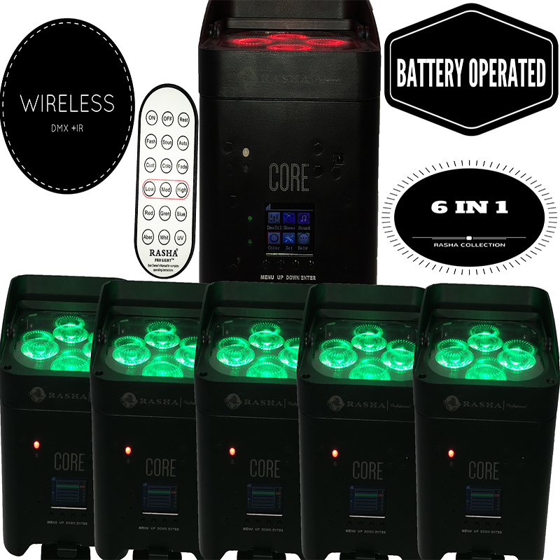 Rasha 4X Lot APP Mobile 4*18W Freedoom Battery Powered Wireless Wifi 6in1 RGABW UV LED P ...