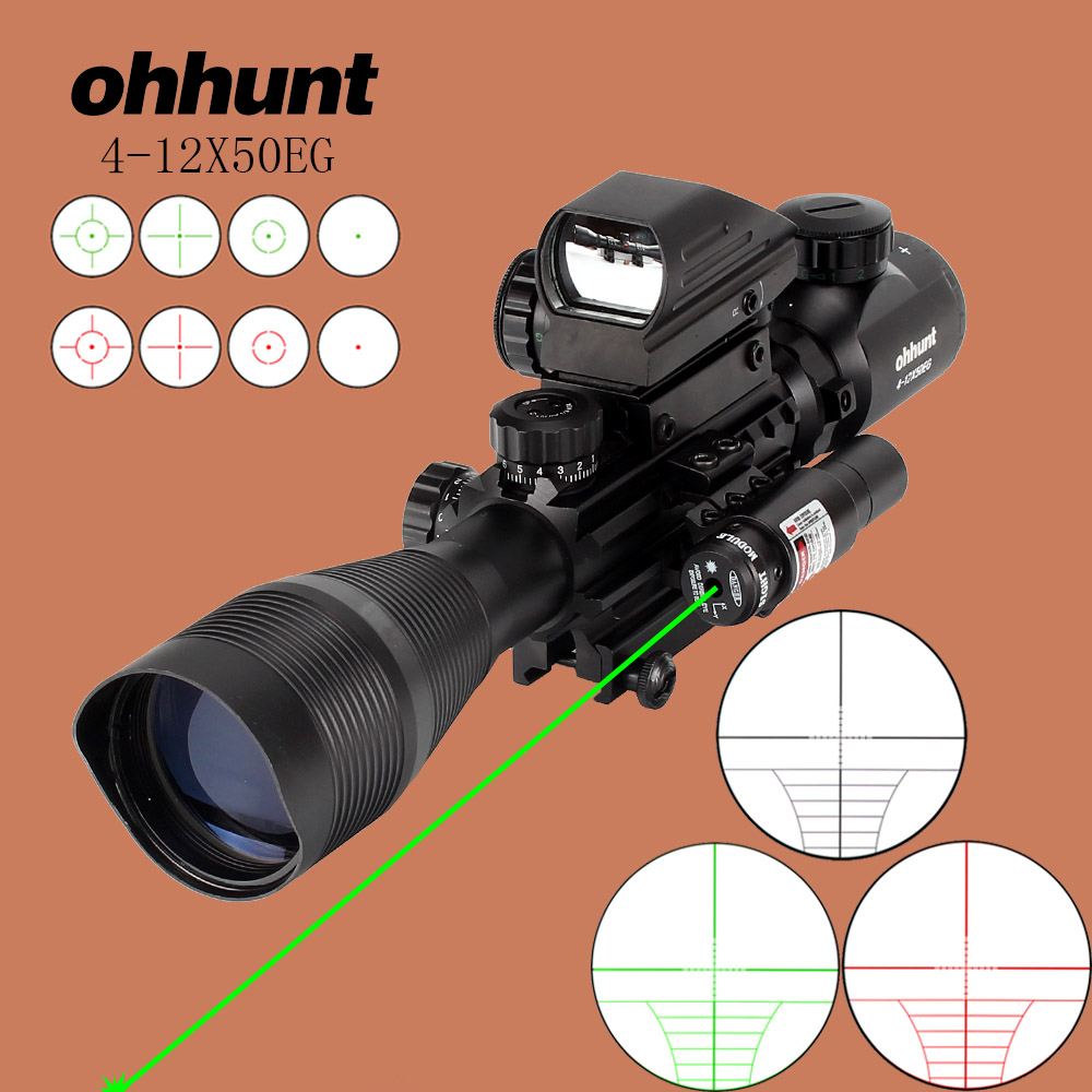 ohhunt Hunting Airsofts Riflescope 4-12X50EG Tactical Air Gun Röd Grön Dot Laser Sight Scope Holografisk Optik Rifle Scope