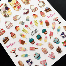 Newest CA sereis CA-021 ice cream rabbit 3d nail art sticker nail decal stamping export japan designs rhinestones  decorations