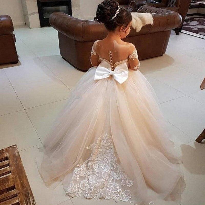 Красивые пышные платья с длинными рукавами для девочек; бальное платье с аппликацией и бантом на спине; платье с цветочным узором для девочек; детская праздничная одежда для дня рождения - 5