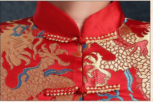 Kineska tradicionalna odjeća vjenčanje rude vezenje nevjesta - Nacionalna odjeća - Foto 6