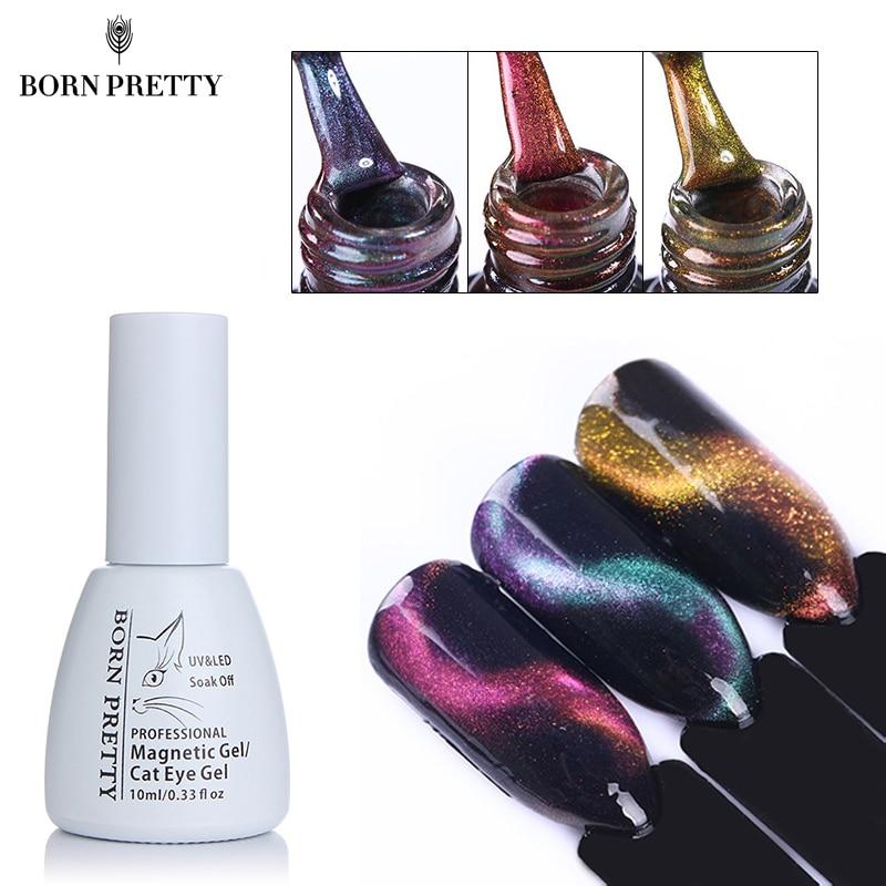 BORN PRETTY 3D Cat Eyes Nail Gel Polish 10ml Chameleon Magnetic Soak Off UV Gel Varnish Manicure Nail Polish Black Base Needed