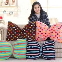 Cute Child Super Soft Warm Bow-knot Pillow Mermaid Coral Fleece Blanket Plush Cushions
