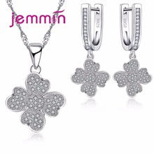 Jemmin Necklace Earrings Jewelry Set 925 Sterling Silver Clover Shape Full Clear Micro Rhinestone Bridal Jewelry