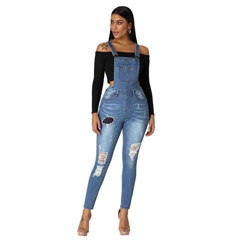 High Waist Ripped Denim Overalls Jumpsuit for Women Elegant Ladies Destroyed High Rise Butt Lift Pinafore