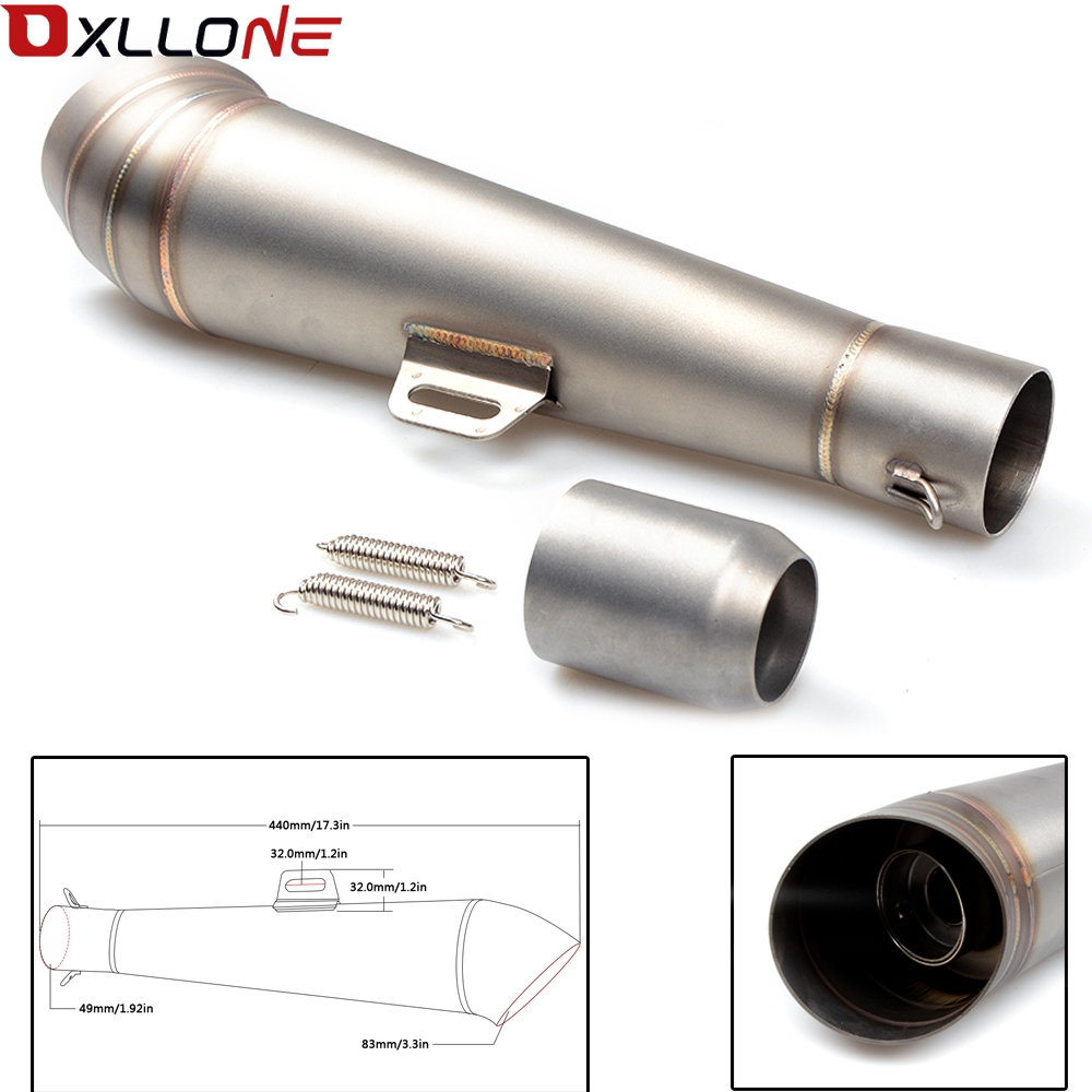 Universal 51MM Motorcycle Exhaust Pipe With Muffler Moto Bike Pot Escape For for honda CG125 CB190R 599 CB300F CB500F ABS-in Exhaust & Exhaust Systems from Automobiles & Motorcycles