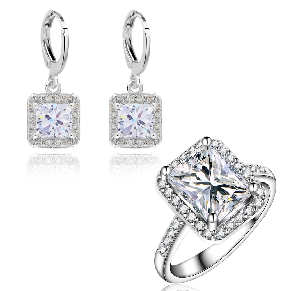 Yunkingdom Wedding Jewelry Sets dla kobiet Classic Square Bride Kolczyki zaręczynowe Rings Sets Wholesale LPG13