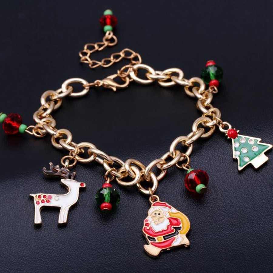 Golden สร้อยข้อมือ Santa Claus จี้สร้อยข้อมือสร้อยข้อมือสตรีสร้อยข้อมือสาวปาร์ตี้งานแต่งงานเครื่องประดับคริสต์มาสของขวัญ