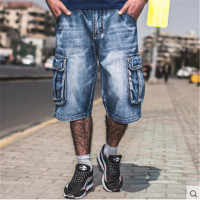 Plus Size Men Summer Denim Short With Pockets Casual Fashion Blue Color Loose Version Male Cargo