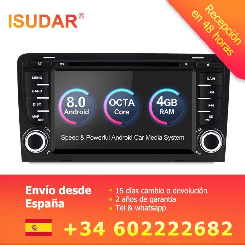 Isudar Voiture lecteur Multimédia Android 8.0 GPS 2 Din Autoradio Système Stéréo Pour Audi/A3/S3 Octa Core 4 GB RAM wifi Voiture DVD Lecteur