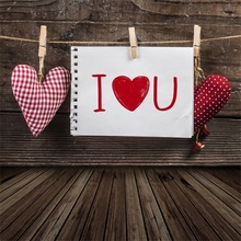 Laeacco Wooden Board Love Heart Puppets Card Baby Photography Backgrounds Customized Photographic Backdrops For Photo Studio