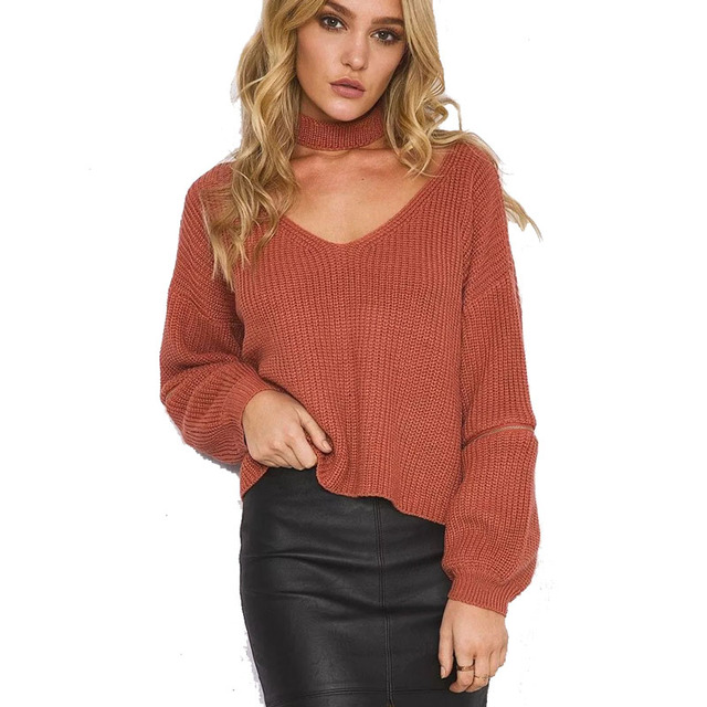 0dcb7900295c 2016 Halter Neck Sexy Sweater Women Turtleneck Knitted Sweater Autumn pull  femme poncho Oversize Jumper Loose