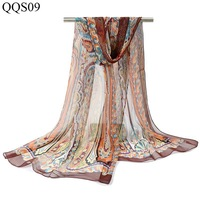 paisley georgette silk scarf long soft long scarves shawls wraps printted transparent tippet chiffon silk beach cover up