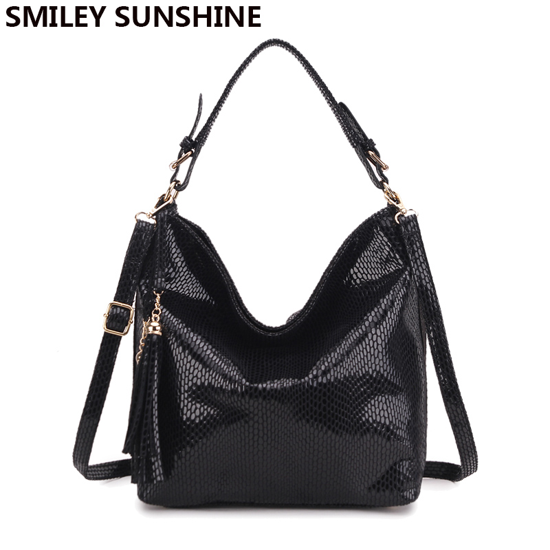 New Serpentine Leather Women Bags Genuine Luxury Shoulder Bags Female Fashion Ho