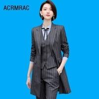 Women suits Slim spring stripe long jacket Pants 2 piece set OL Formal Business Women pants suits Woman set suits 1955