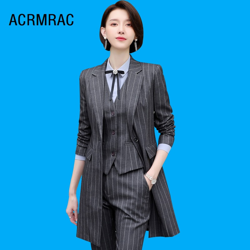 Women Suits Slim Spring Stripe Long Jacket Pants 2-piece Set OL Formal Business Women Pants Suits Woman Set Suits 1955