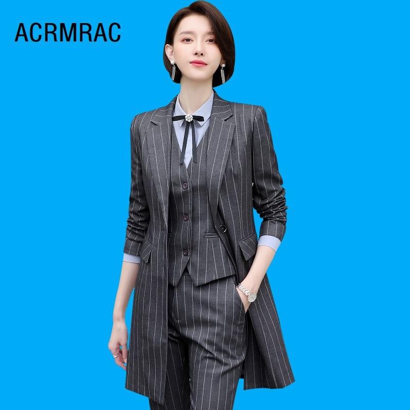 Women Suits Slim Spring Stripe Long Jacket Pants 2-piece Set OL Formal Business Women Pants Suits Woman Set Suits 1955