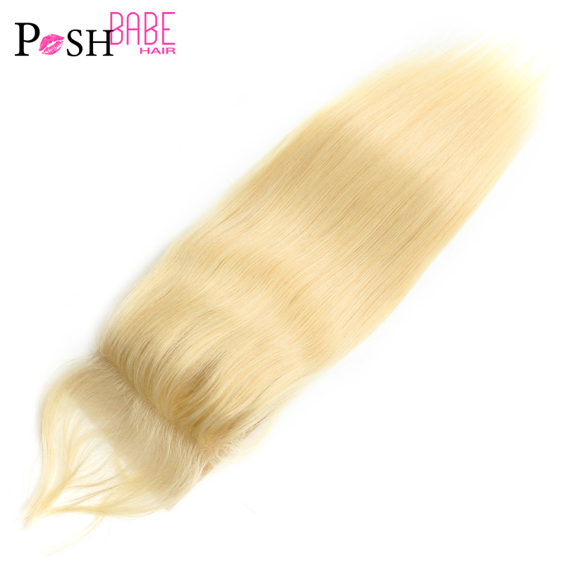 4x4 Closure 8 - 24 Inch 613 Honey Blonde Colored Brazilian Straight Remy Human Hair Free/Middle Part Lace Closure Free Shipping(China)