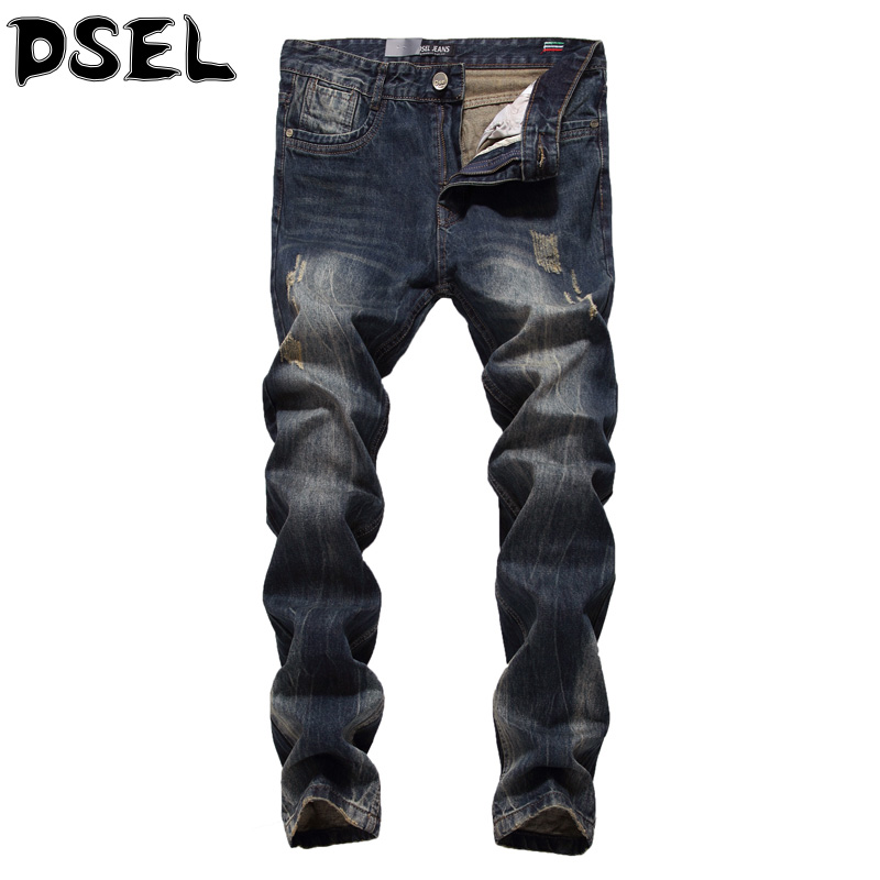 ФОТО DSEL Brand Men Jeans Top Quality Vintage Denim Stripe Ripped Jeans Men Slim Fit Retro Design Fashion Biker Jeans Plus Size 29-40