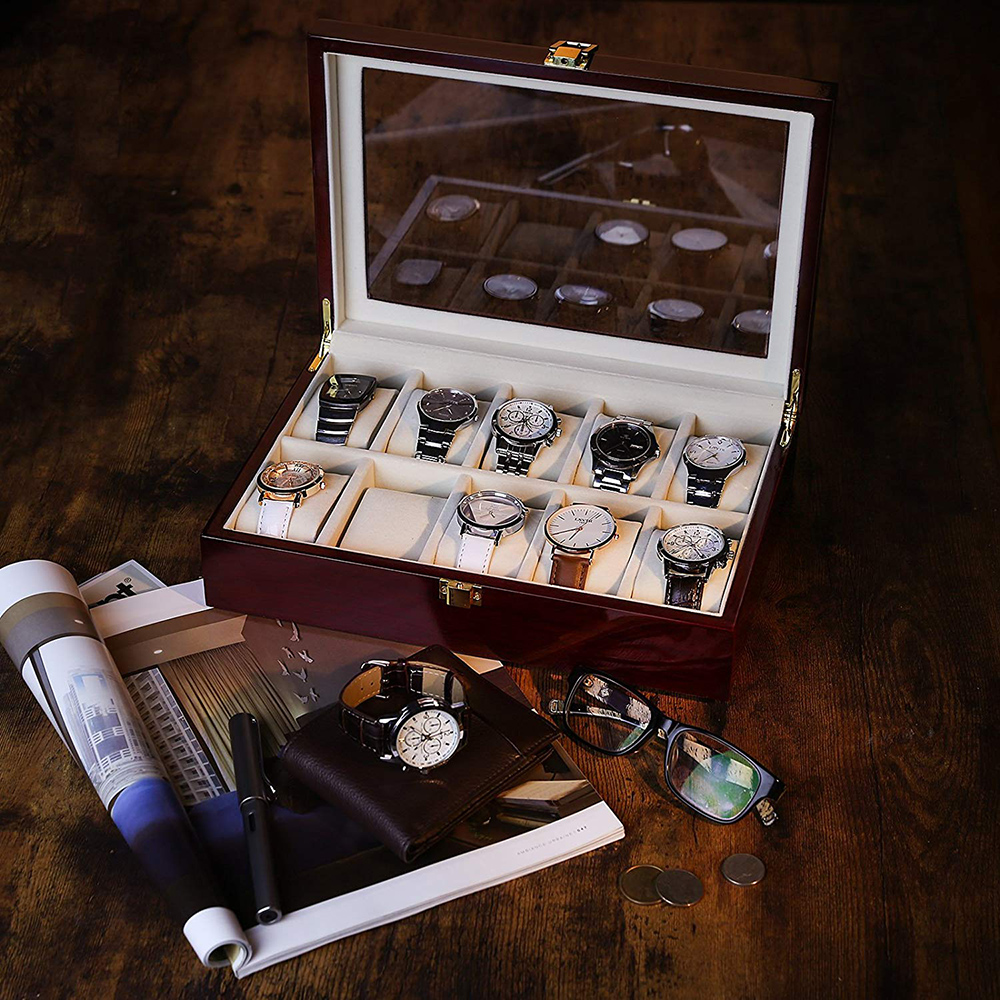 Boîte de montre en bois de luxe
