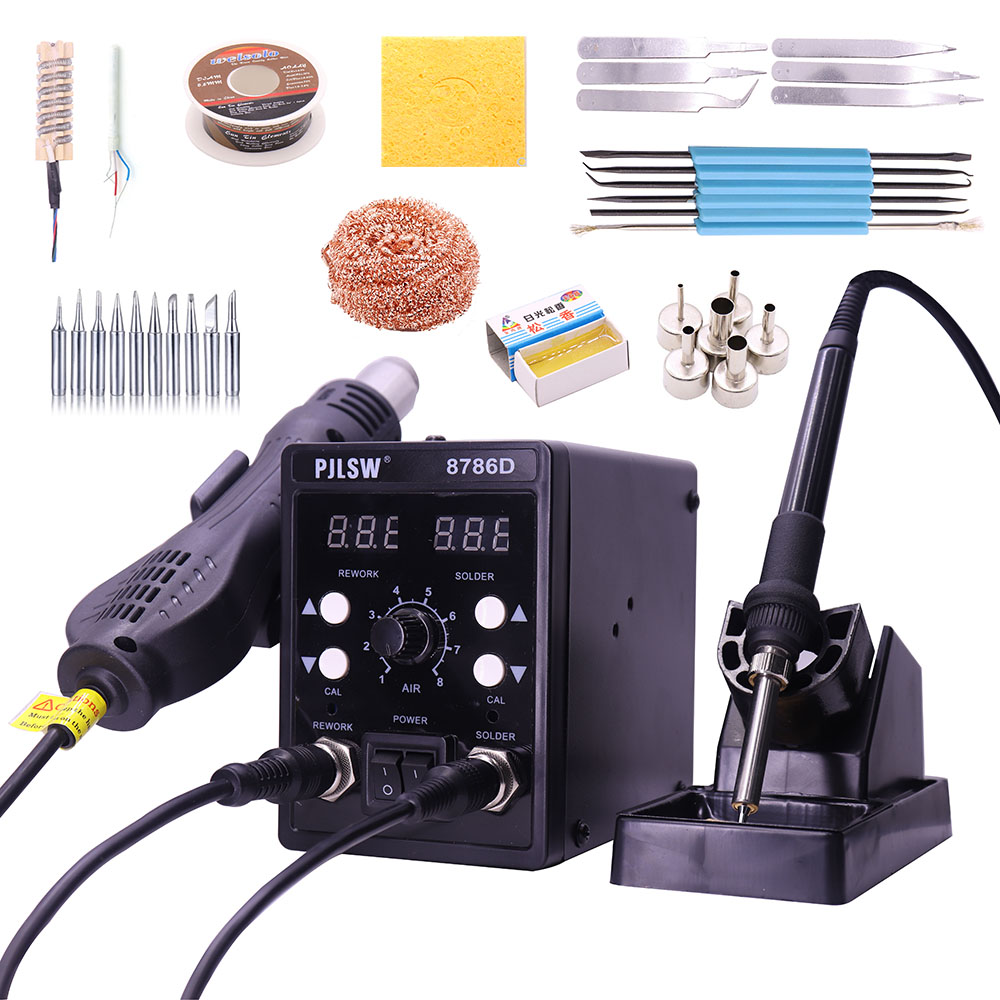 PJLSW 8786D 750W Blue Digital 2 In 1 SMD Rework Soldering Station Repair Welding Soldering Iron Set PCB Desoldering Tool