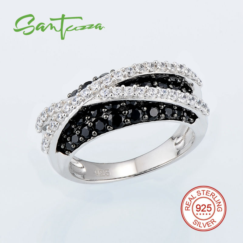 Silver Rings for Woman Black Created Spinels Cubic Zirconia CZ Women Rings Pure 925 Sterling Silver