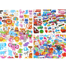 Puffy Bubble Stickers Mixed Cartoon Mickey Cars Spiderman Waterpoof DIY Children Boy Girl Toy 5 pcs/lot(China)