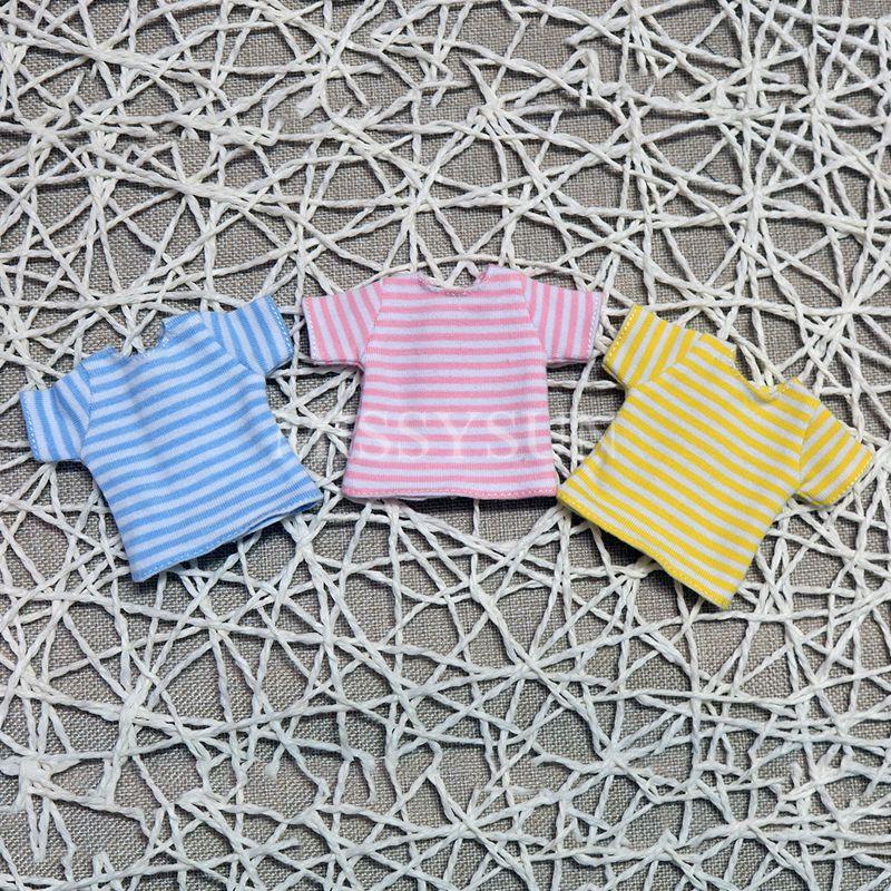Yellow,Blue,Pink Stripe T-shirt Blyth Doll Clothes Short Sleeve Shirt For 1/6 Doll Accessories (fit Licca,obistu,Blyth,1/6 Doll)