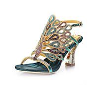 2018 г., новые летние сандалии Павлин со стразами новые римские сандалии на высоком каблуке с открытым носком женская обувь маленького размер