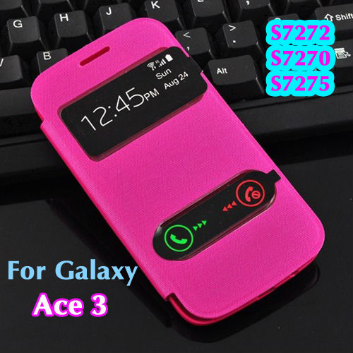 Samsung Galaxy Ace 3 S7270 S7275 7270 Original View Open Window Flip case Leather Back Cover Cases Battery Housing Case - Look at the sky store