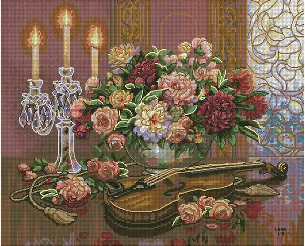 CS-1612 Cross Stitch Kit Romantic Floral Flower and Violin dim 35185.jpg