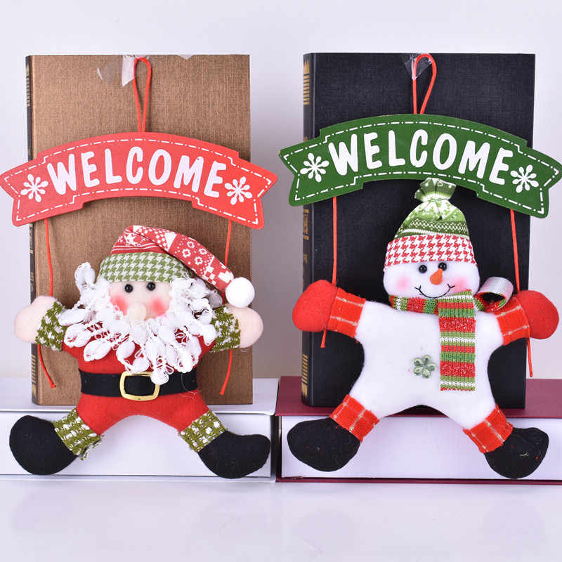 Snowman Door Hanging Ornament For Home 2019 New Year Gift Party Santa Claus Christmas Decorations DIY Welcome Doorplate